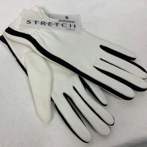 Isotoner Womens Stretch Fleece Gloves White Black